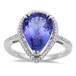 white gold tanzanite and diamond engagement ring
